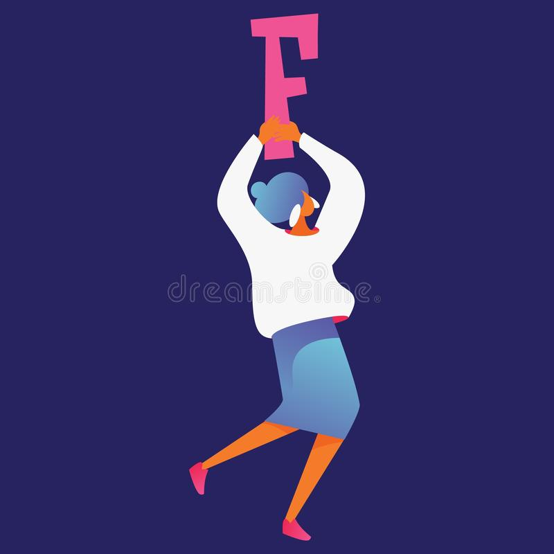 Isolated on dark blue background woman character with large letter F holding in hands. Vector concept illustration good for. Creative lettering and educational stock illustration