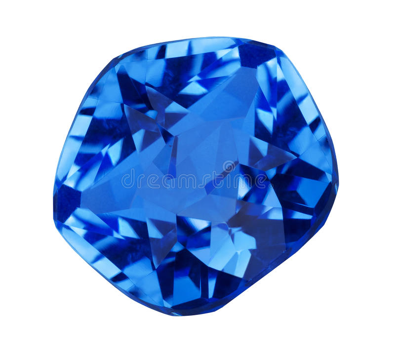 Isolated dark blue sapphire gem. Blue sapphire isolated on white background stock photography