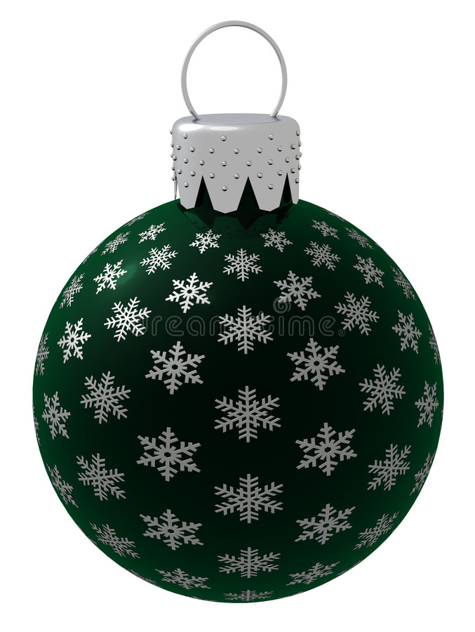 Isolated Dark Green Christmas Ornament Royalty Free Stock Photography