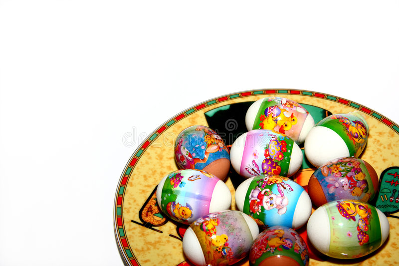 Isolated decorated Easter eggs royalty free stock image