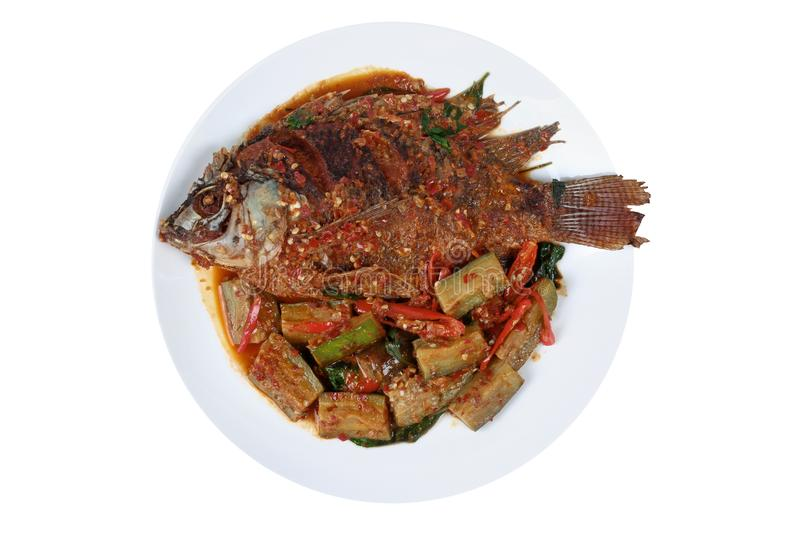 Deep-fried tilapia fish topped Spicy fried eggplant. stock photography