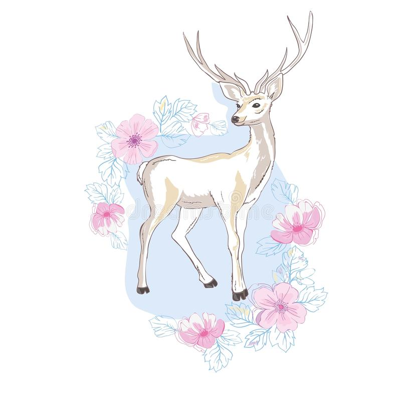 Watercolor vector illustration isolated deer, big antlers, flowers and birds on the horns, branches cherry flowering vector illustration