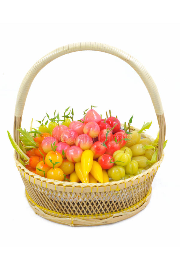 Download Isolated Deletable Imitation Fruits In Basket. Stock Images - Image: 24533944