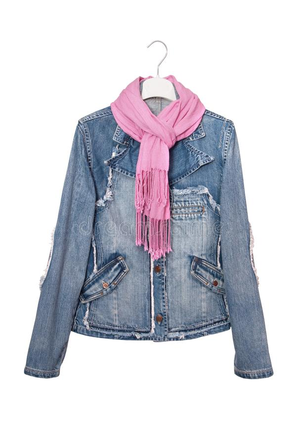 Isolated denim jacket, jeans wear, pink scarf royalty free stock photos