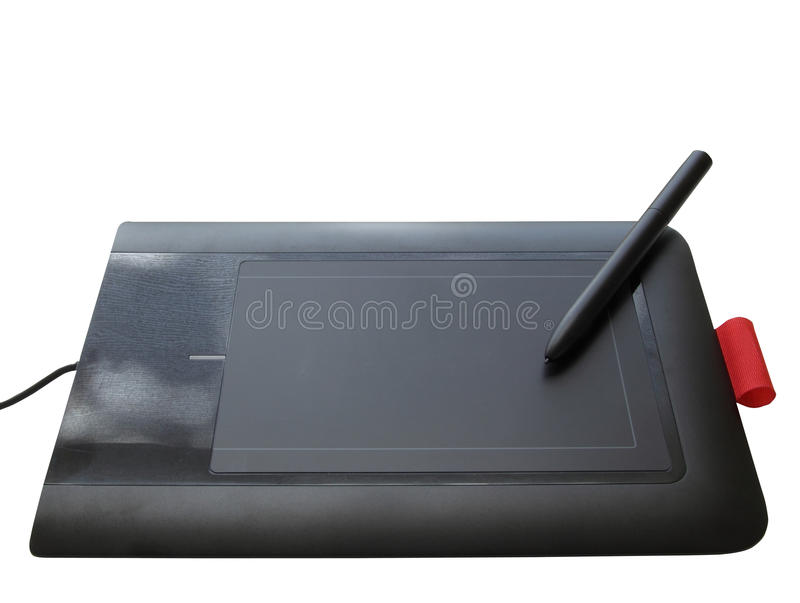Isolated design graphics tablet. Computer graphics design pad with pen isolated on a white background with clipping path royalty free stock image