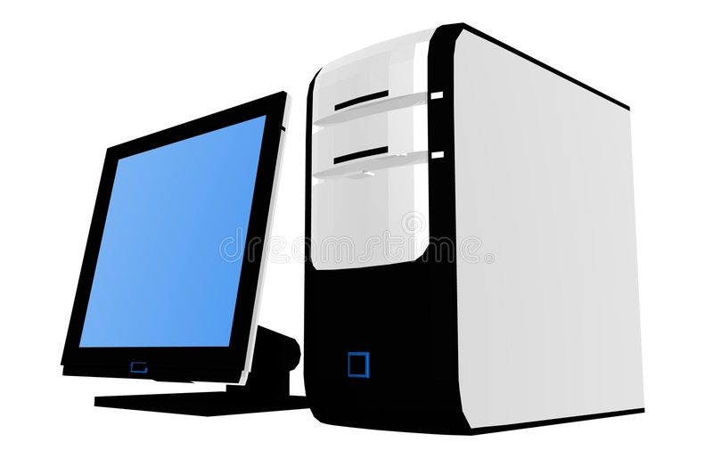 Isolated desktop computer II stock illustration