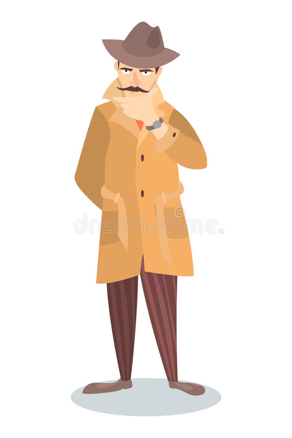 Detective in thoughts. royalty free illustration