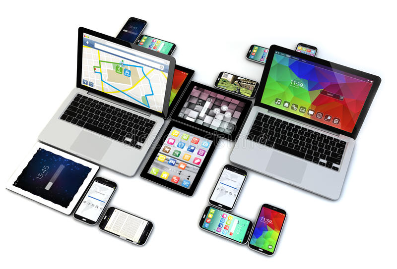 Isolated devices collection. Render of a group of 3d generated devices. All screen graphics are made up vector illustration
