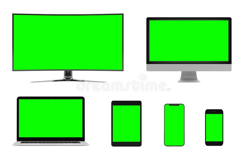 Isolated Devices Mockup royalty free illustration