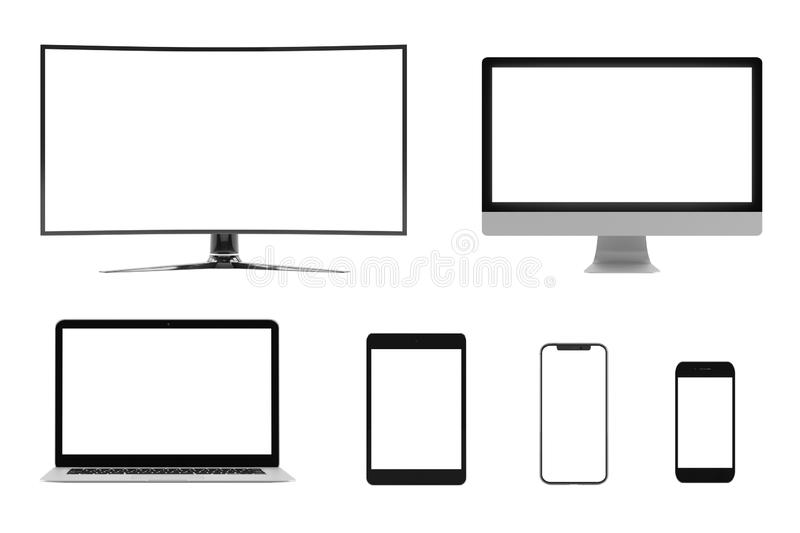 Isolated Devices Mockup stock illustration
