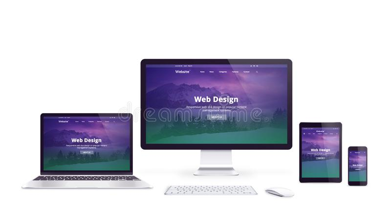 Isolated devices with responsive web site on display stock illustration
