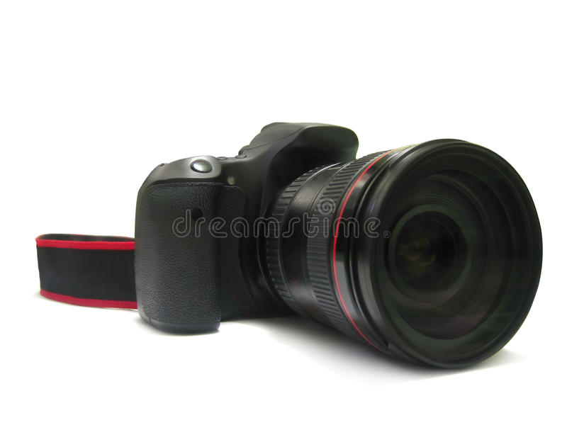 Isolated, digital camera dslr and lens for photographer on white royalty free stock image