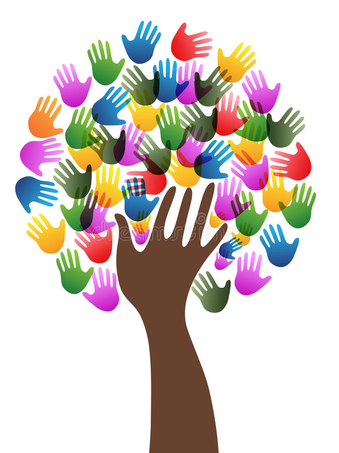 Isolated diversity hands tree background stock illustration