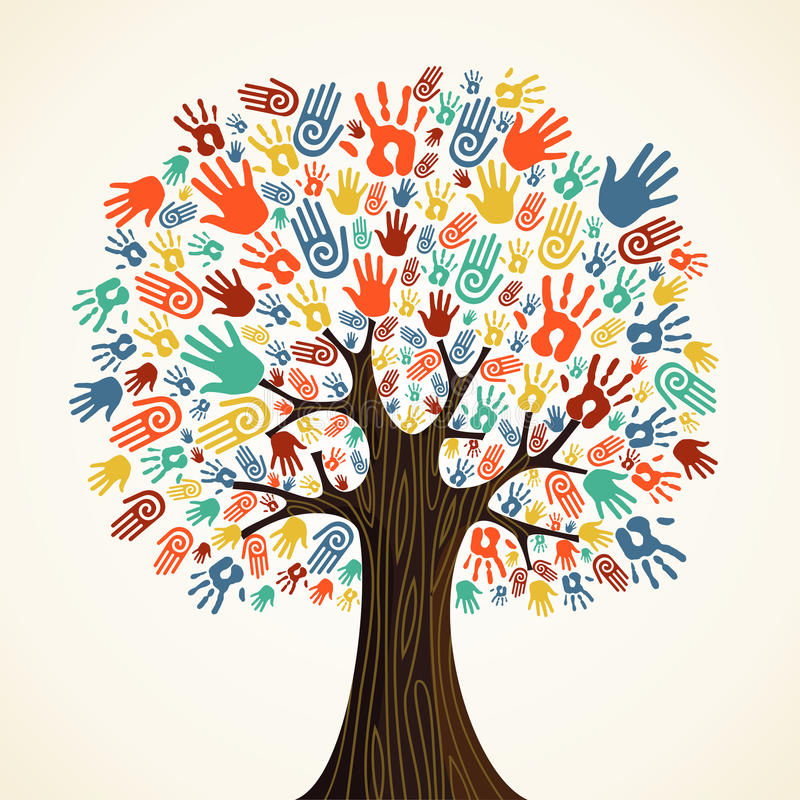 Isolated diversity tree hands vector illustration