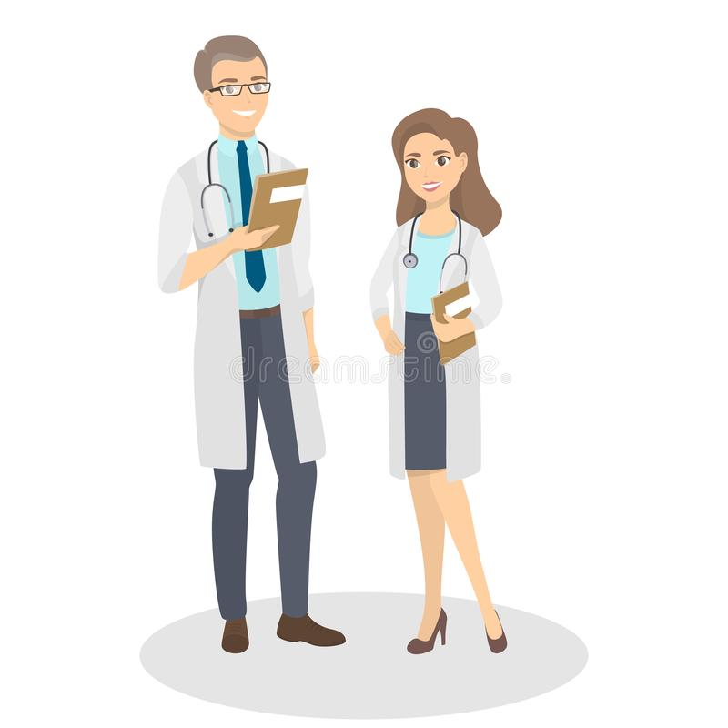 Isolated doctors couple. stock illustration