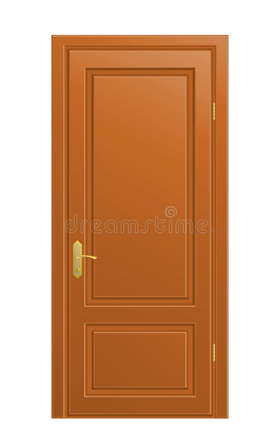 Isolated door. The vector wooden closed door on white background vector illustration
