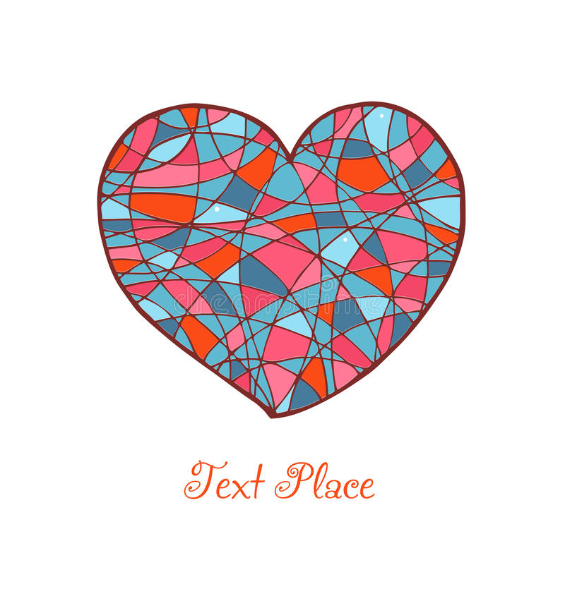 Download Isolated Drawn Heart. Love Banner. Romantic Mosaic Stock Vector - Image: 31647461