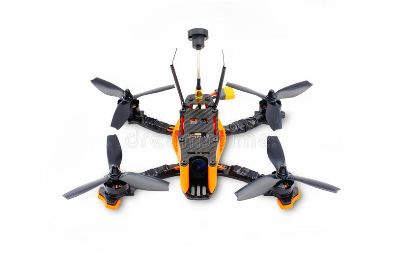 Isolated drones racing FPV quadrocopter made of carbon black, drone ready for flight, stylish and modern hobby.  stock images