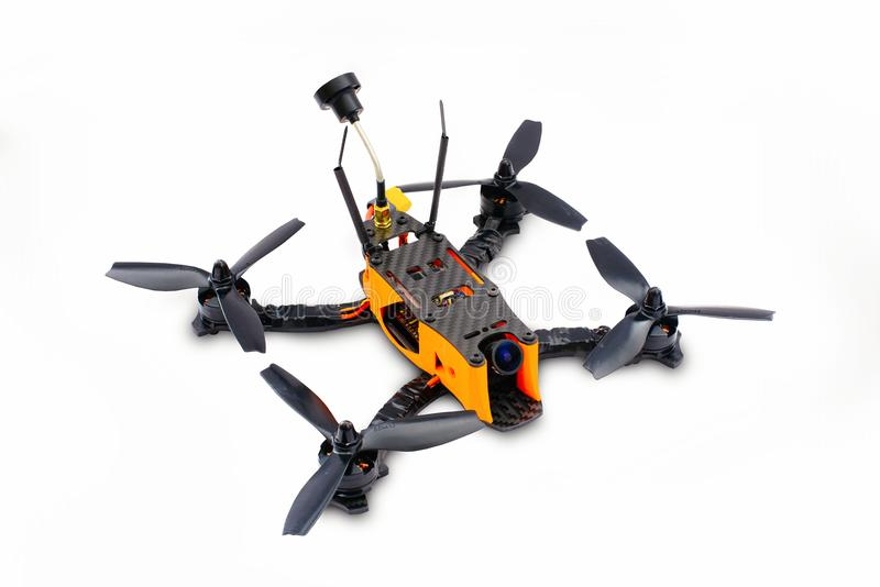 Isolated drones racing FPV quadrocopter made of carbon black, drone ready for flight, stylish and modern hobby.  stock photo