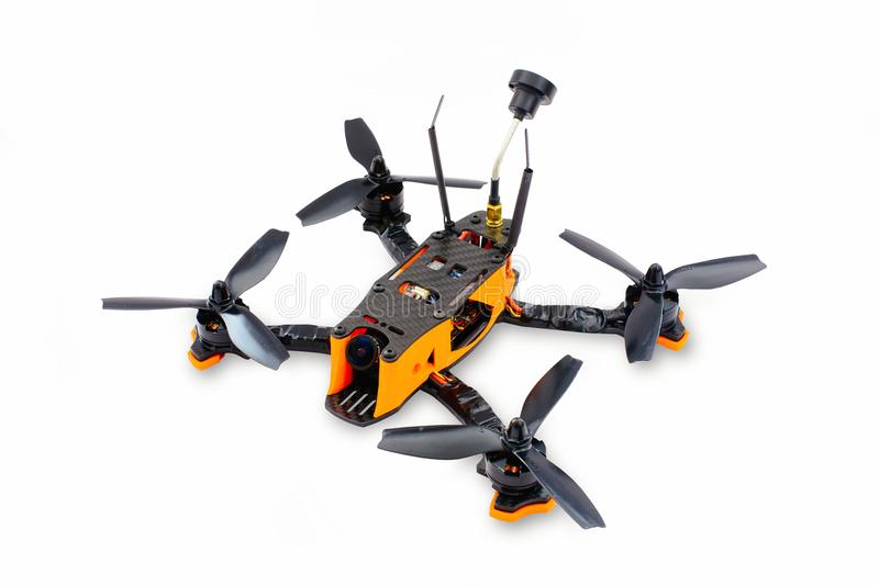 Isolated drones racing FPV quadrocopter made of carbon black, drone ready for flight, stylish and modern hobby.  royalty free stock photos