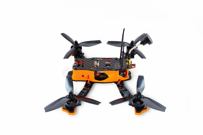 Isolated drones racing FPV quadrocopter made of carbon black, drone ready for flight, stylish and modern hobby.  stock image