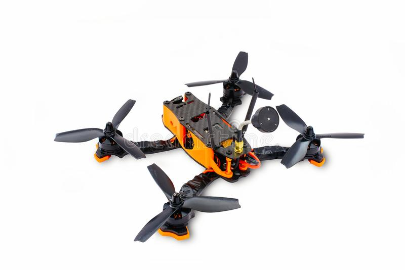 Isolated drones racing FPV quadrocopter made of carbon black, drone ready for flight, stylish and modern hobby.  royalty free stock photography