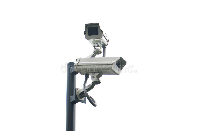 Isolated dual cctv on the pole with white background royalty free stock image