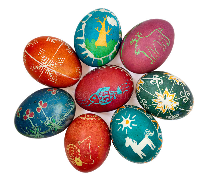 Isolated Easter eggs. Easter eggs hand-painted (Ukrainian tradition) isolated on a white background stock image