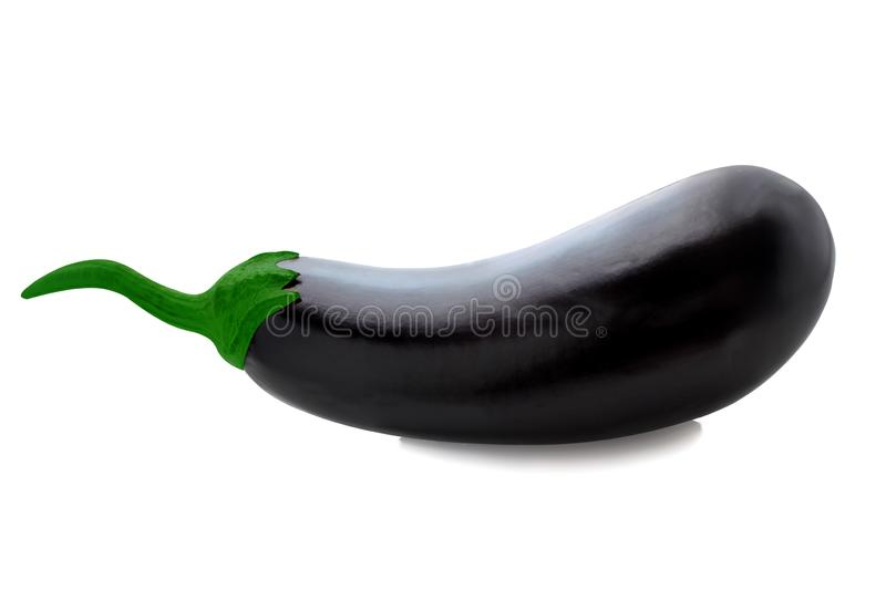 Isolated eggplant. One-piece on a white background with clipping path as an element of packaging design, flyers for supermarkets. And advertising. Isolated stock image