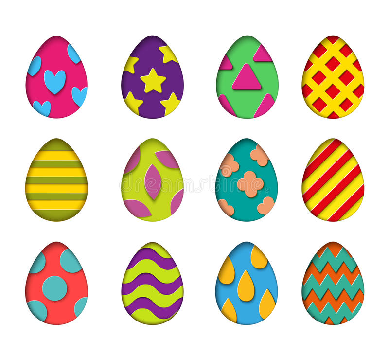 Isolated eggs vector set in paper cut style for banner, spring card or background design.Easter colorful design elements royalty free illustration