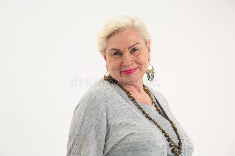Isolated elderly woman. stock images