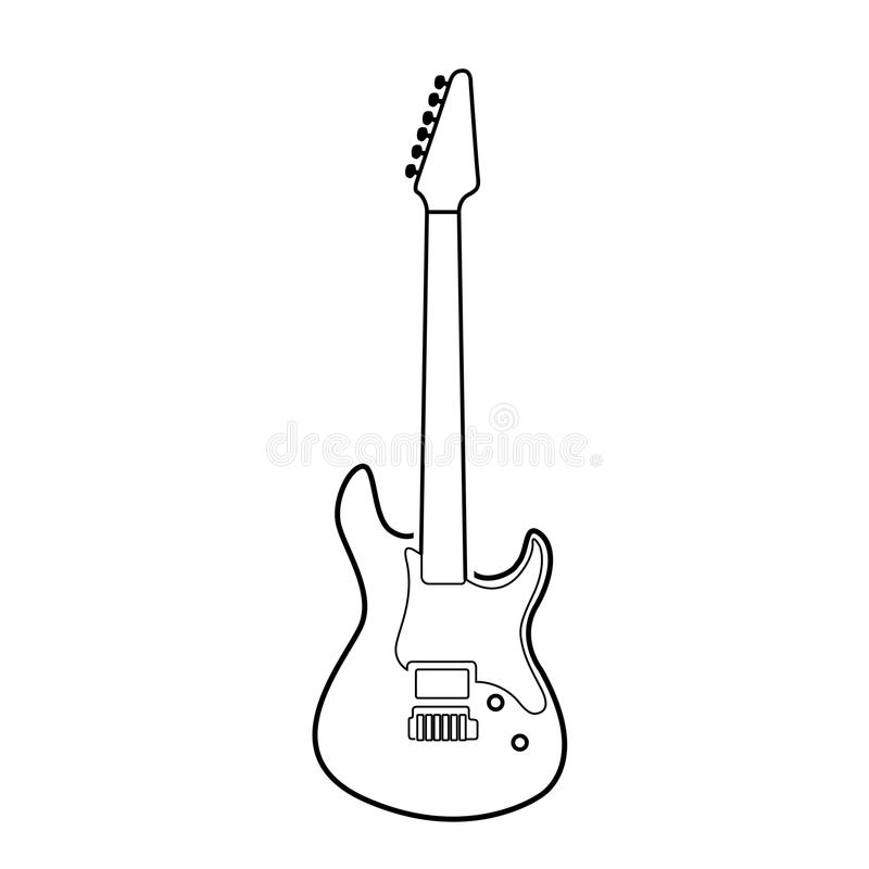 isolated electric guitar outline stock illustration
