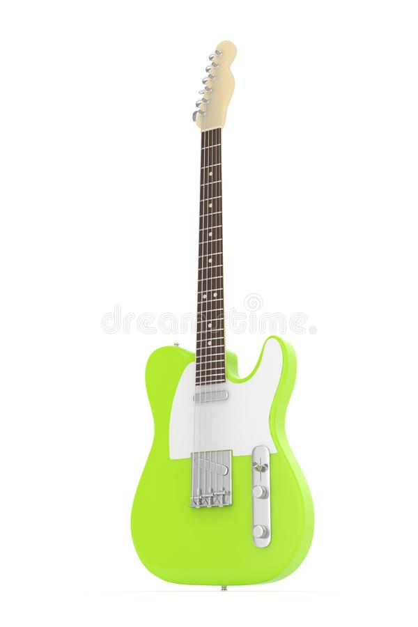 Isolated electric guitar on white. 3D rendering. royalty free illustration