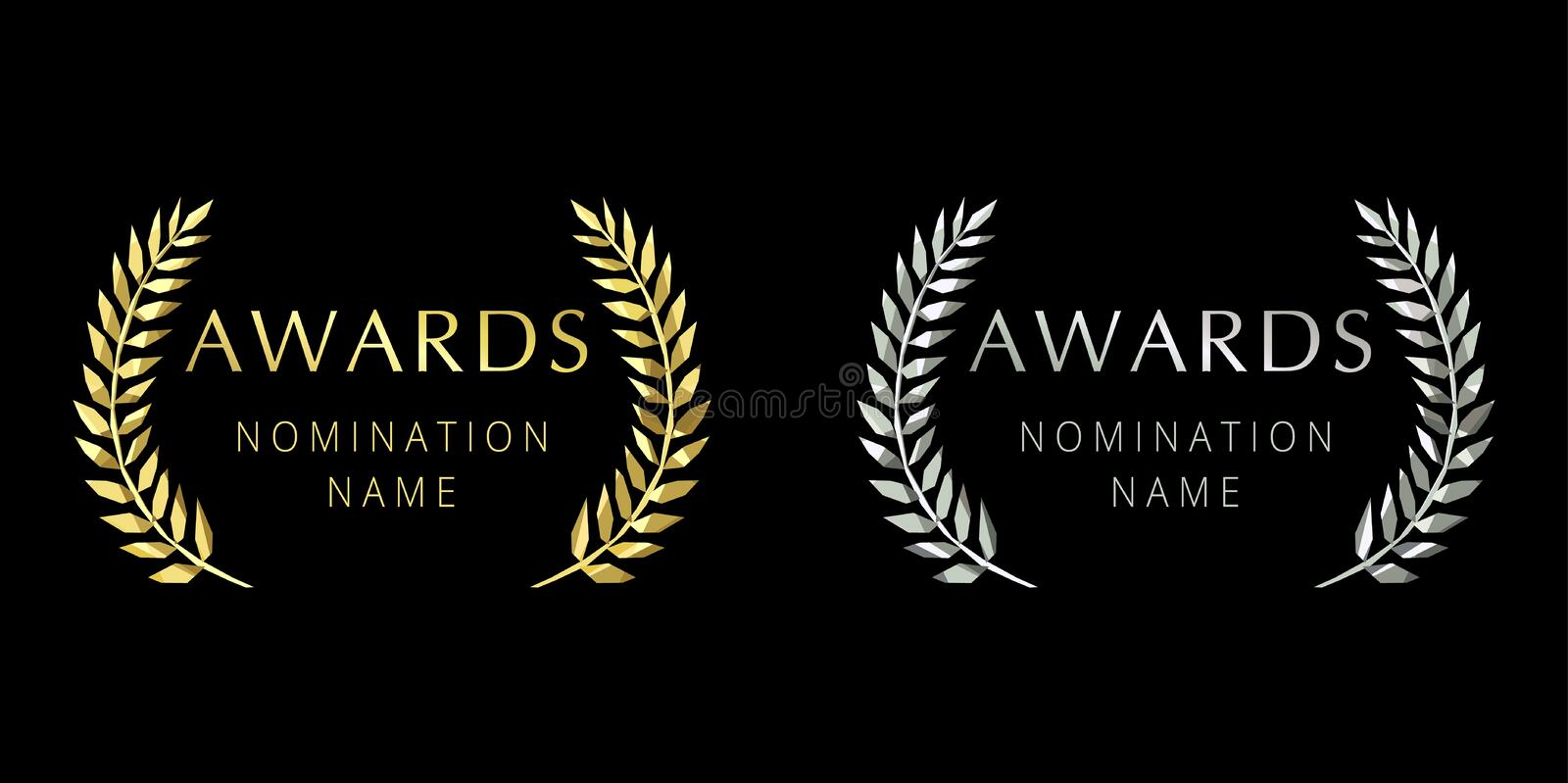 Awards logotype stained glass crystal palms branches. Isolated elegant abstract gold, silver emblem. First 1st and second place symbol. Luxurious congratulating royalty free illustration