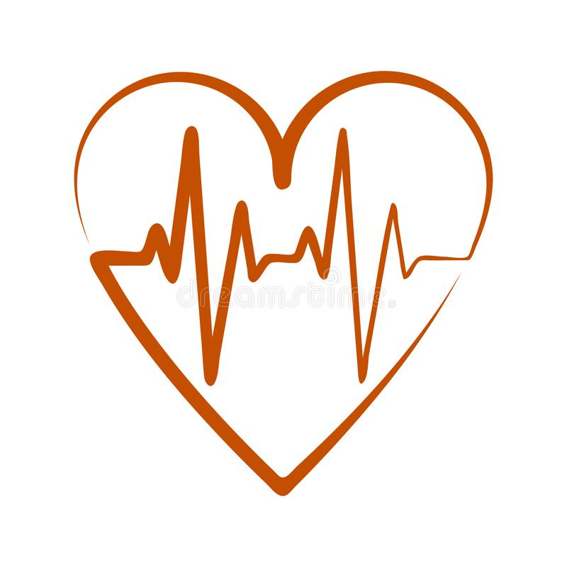 The symbol of the ECG in heart. The isolated emblem of the ECG in heart vector illustration