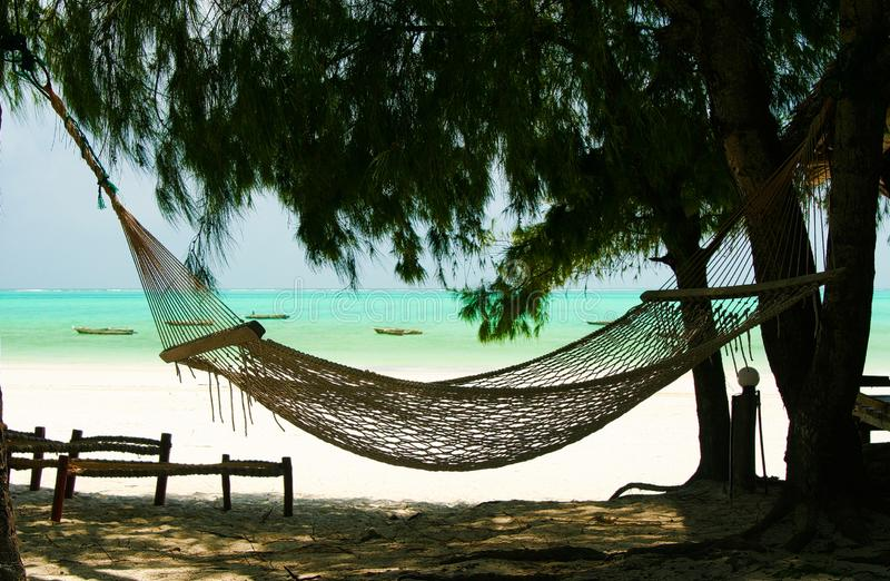 Isolated empty hammock between conifer trees, white sand and green turquoise ocean background - Paje beach, Zanzibar royalty free stock photography