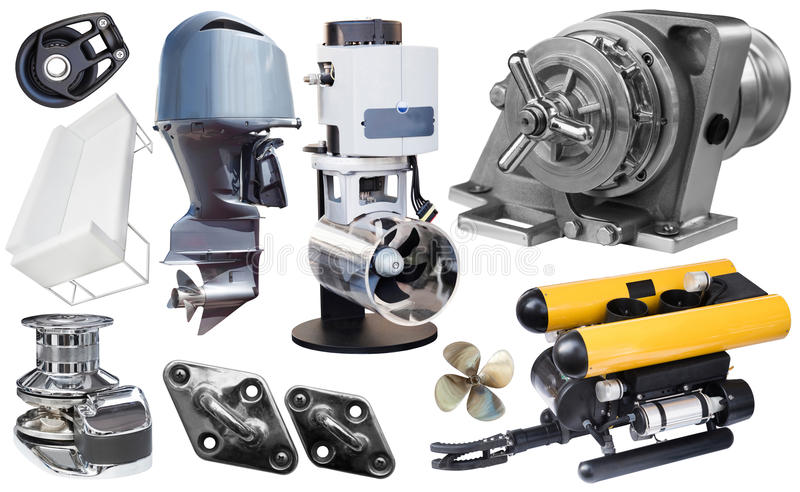 Isolated equipment and parts of modern yacht royalty free stock photo