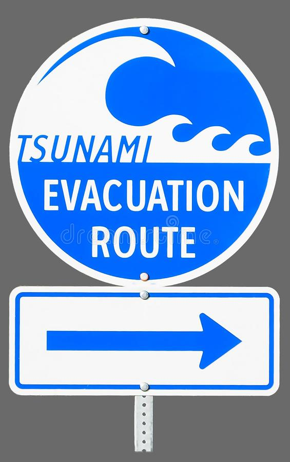 Isolated evacuation Route Highway sign. A highway sign marking Tsunami Evacuation Route in Vancouver Island - British Columbia, Canada. Close up of isolated sign stock photography