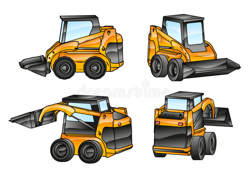 Isolated excavators. Small isolated excavators in the four angles stock illustration