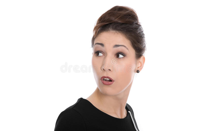 Isolated Face Of A Shocked And Amazed Beautiful Smiling Woman. Stock Photos