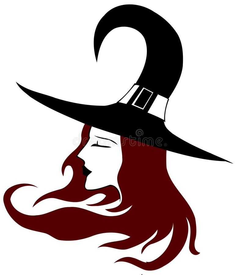 Line Drawing Of Witches Face : Isolated face of a nice witch stock illustration