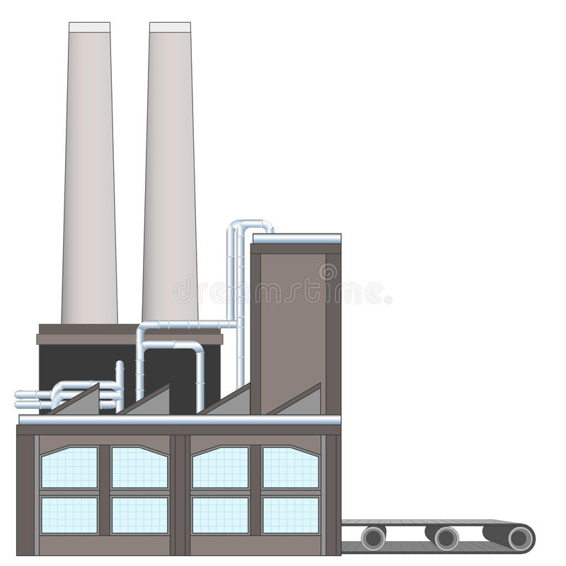 Isolated factory building with belt idea vector royalty free illustration