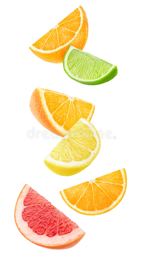 Isolated falling citrus pieces stock images