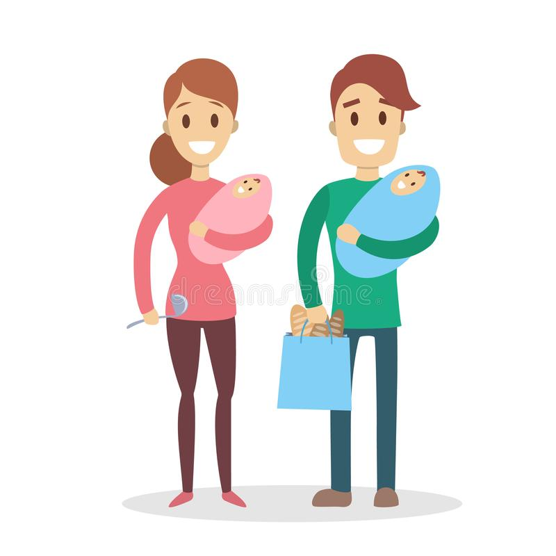 Isolated family couple. Isolated family couple parents with babies on white vector illustration