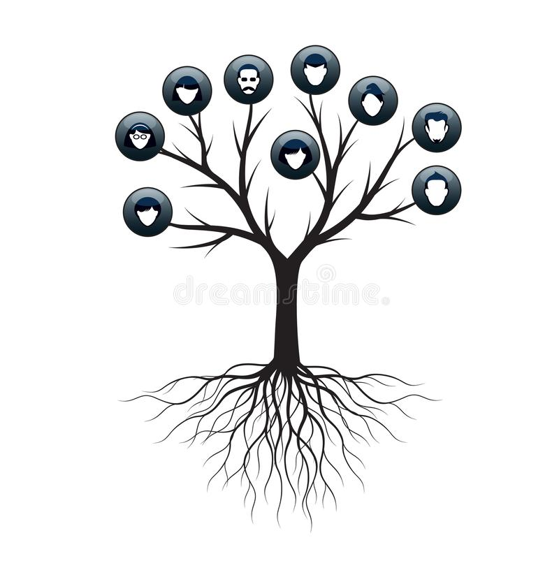 Isolated Family Tree on white background. Vector Illustration and concept. Plant and genealogy.  vector illustration