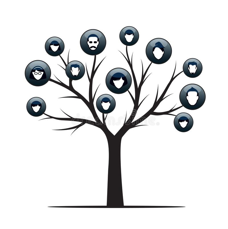Isolated Family Tree on white background. Vector Illustration and concept. Plant and genealogy.  stock illustration