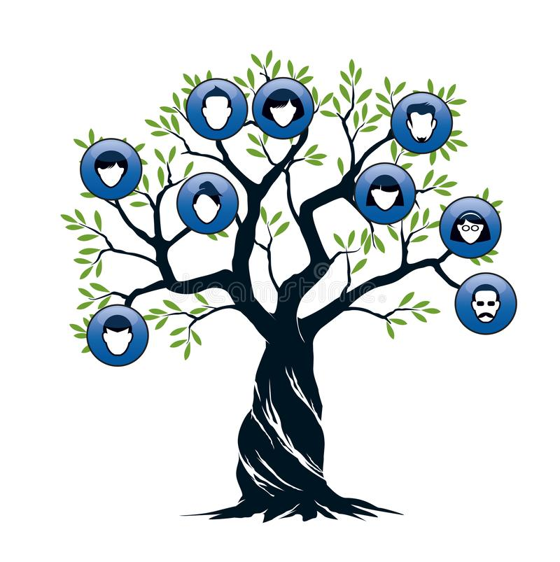 Isolated Family Tree on white background. Vector Illustration and concept. Plant and genealogy stock illustration