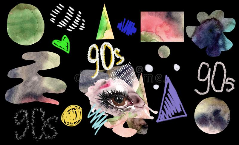 Isolated fashion clipart 90s, retro style, collage stock illustration