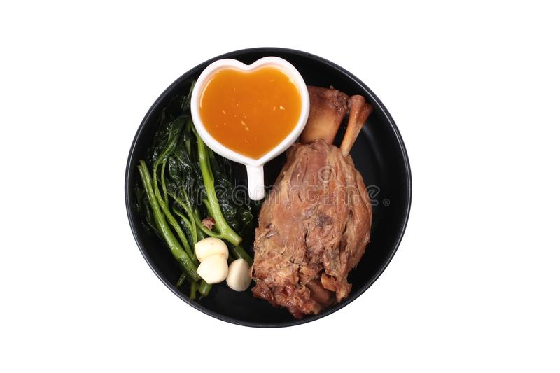 Fat out recipe of stewed pork. Isolated of Fat out recipe of stewed pork, Stewed pork hock peel skin and fat out with boiled kale . Call Kha Moo Palo Rai Mun in stock images
