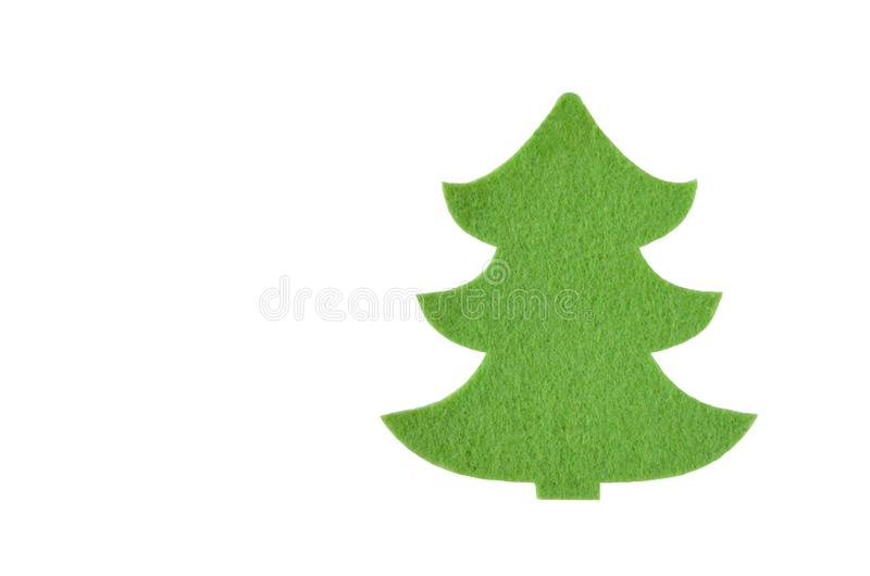 Isolated felt toy in the form of a Christmas tree on white stock image